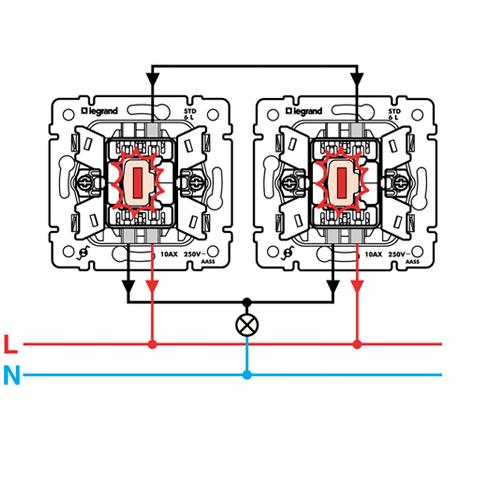 Схема подключения Переключателя на два направления с подсветкой Legrand Valena 774326.