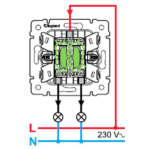 Схема подключения выключателя с подсветкой 2-клавишного Легранд Валена 774328.