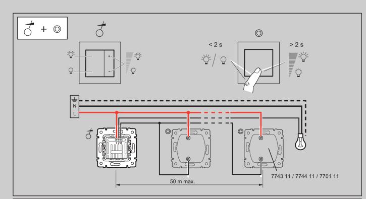 Схема подключения кнопки с диммером.  Файл png, 50.38 Kb.