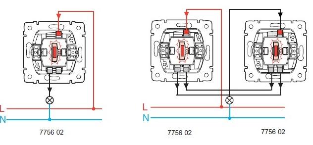 Поставляется с зеленой лампой 0,5 мA Кат.  Переключатель на 2 направления с подсветкой.  775 897.  Схема подключения.