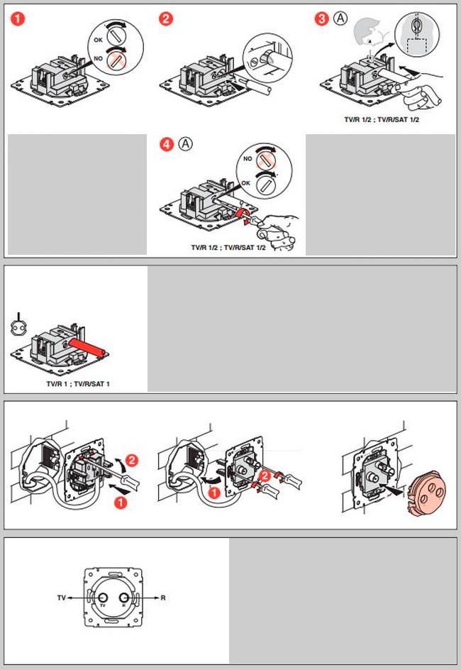 Схема монтажа телевизионной
