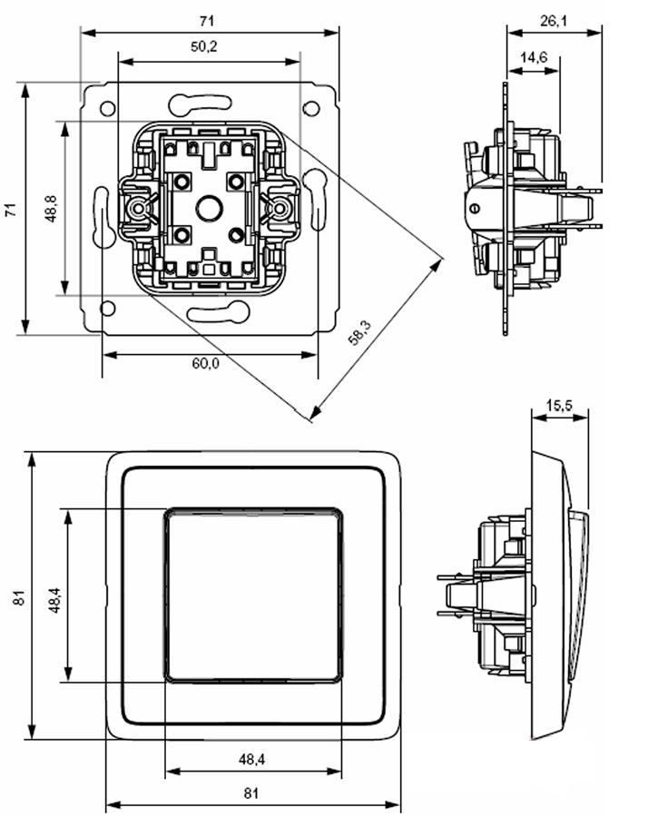 Размеры выключателя Карива