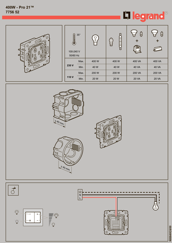 Схема программирования диммера