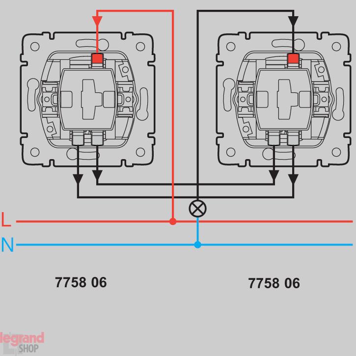 Проходная схема монтажа выключателей 775806.