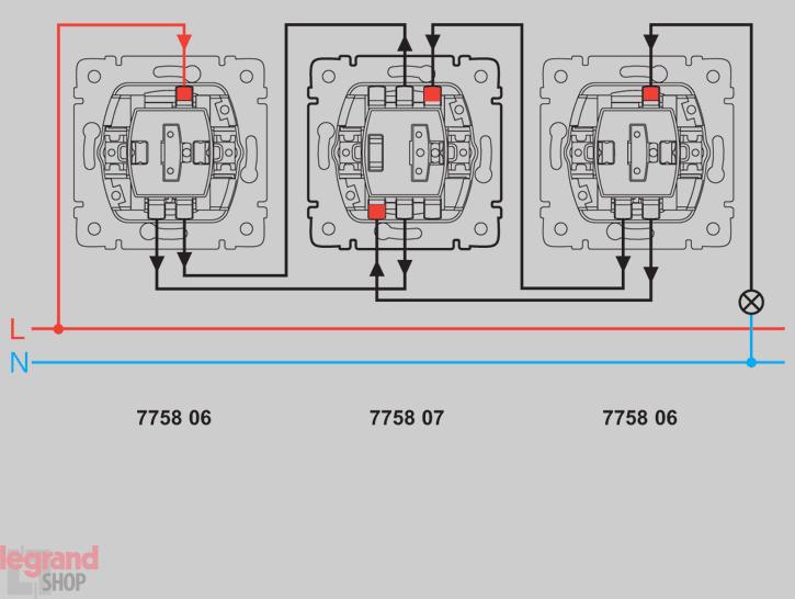 Проходная схема управления (вкл/выкл) с 3-х мест с выключателем 775807.