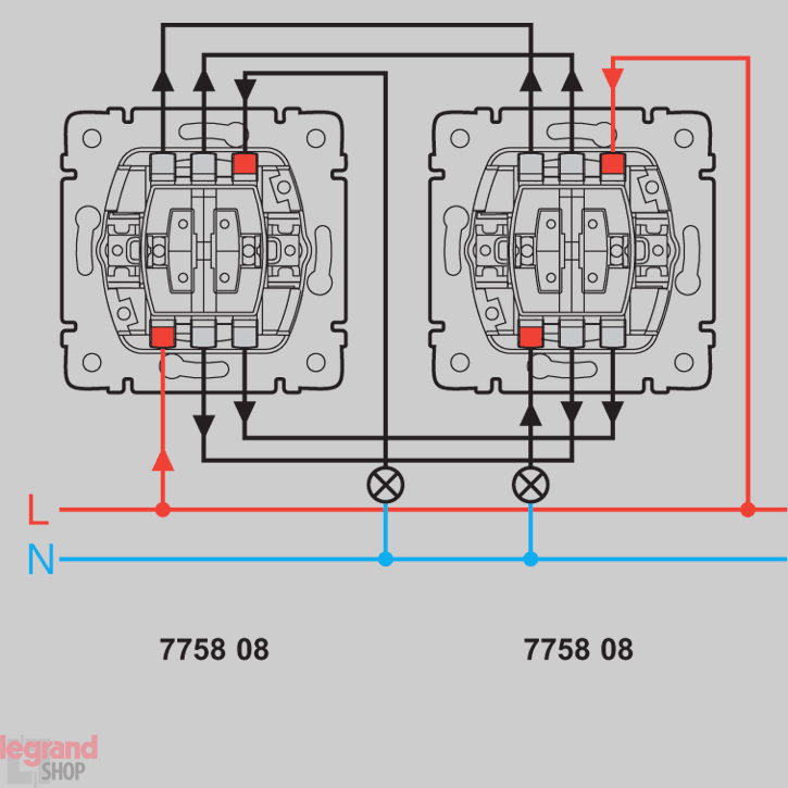 Схема подключения двухклавишный выключатель viko5