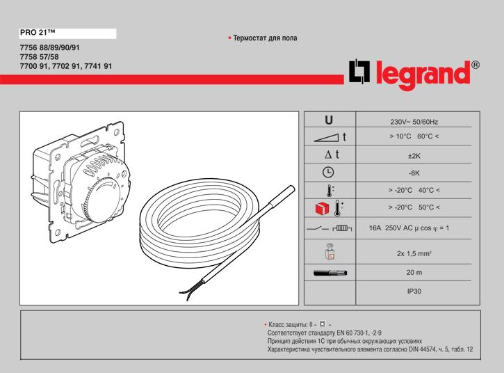 Технические данные терморегуляторов Легранд Валена 774191