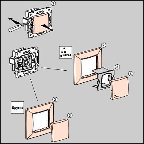 Монтаж выключателя IP44